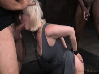 Tied Blonde Plays With Black Dick