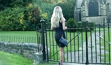 Sexy blonde gets out car in high heels and finishes you off