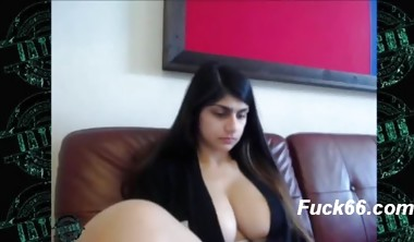 Mia Khalifa sitting with her fans while flashing her big tits
