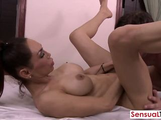Big titted shemale slut fucked hard on the massage table