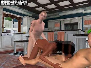 Hot 3D ebony shemale honey getting double teamed