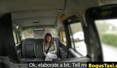 Real British ginger babe takes cabbie cock ass to mouth