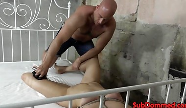 Blonde sub whipped before pussy fucking by male dom