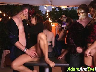 Babe licked in gangbang