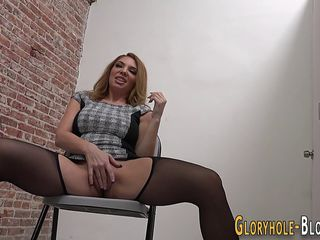 Milf at gloryhole spunked