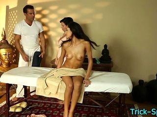 Milf watches rubbed teen