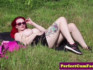 Redhead milf facialized outdoors