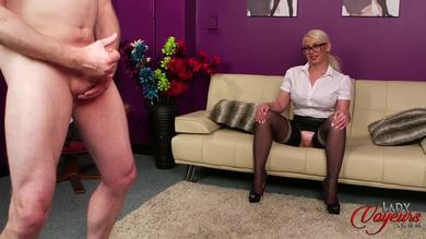 Naughty British blonde in stokings Pippa Blonde teases guy JOI