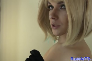 Classy russian tranny toying her asshole