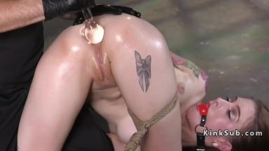 Anal punish training for brunette slave