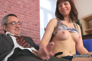 Cuddly schoolgirl gets seduced and screwed by her older mento