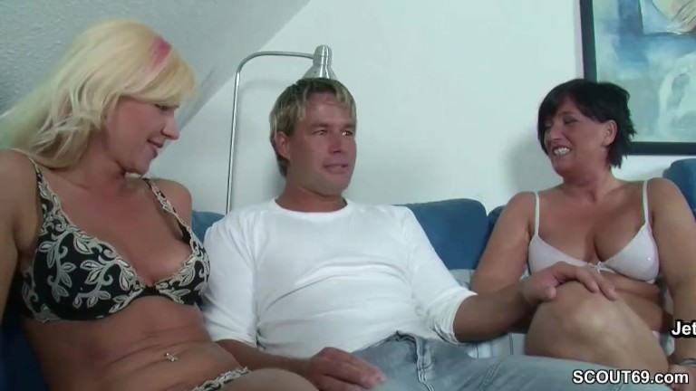 German Mom and Friend Seduce Young Boy to Fuck in 3some