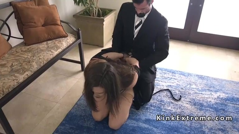 Tied up in doggy gets anal fucked