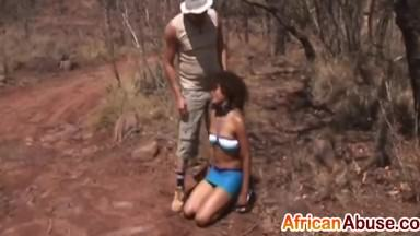 African couple pleasing each other
